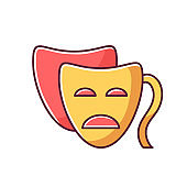 Drama RGB color icon. Serious film and TV production. Common movie genre, classic theater. Popular cinematography category. Tragedy mask isolated vector illustration