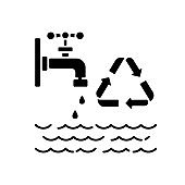 Reducing water use black glyph icon