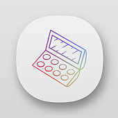 Fashionable eyeshadow palette app icon. UI/UX user interface. Web or mobile application. Beauty parlor attribute vector isolated illustration. Facial makeup, professional cosmetologist tool