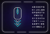 Scrolling mouse neon light icon. Internet page browsing gesture, down arrowheads indicator. Outer glowing effect. Sign with alphabet, numbers and symbols. Vector isolated RGB color illustration