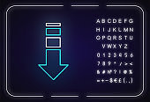 Down arrow neon light icon. Internet page browsing, website pointer. Way direction indicator. Outer glowing effect. Sign with alphabet, numbers and symbols. Vector isolated RGB color illustration