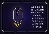 Scrolling mouse neon light icon. Down arrowhead indicator. Internet page browsing cursor. Outer glowing effect. Sign with alphabet, numbers and symbols. Vector isolated RGB color illustration