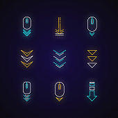 Scroll down buttons neon light icons set. Internet page browsing and download indicators. PC elements with arrowheads. Signs with outer glowing effect. Vector isolated RGB color illustrations