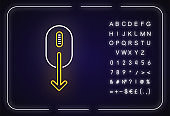 Mouse and down arrow neon light icon. Web page scrolling down indicator. App interface button. Outer glowing effect. Sign with alphabet, numbers and symbols. Vector isolated RGB color illustration