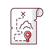 Adventure film RGB color icon. Popular movie genre, filmmaking category. Exciting story with travel and exploration. Treasure map isolated vector illustration