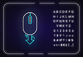 Mouse and down arrow neon light icon. Web page scrolling down. Website pointer, interface button. Outer glowing effect. Sign with alphabet, numbers and symbols. Vector isolated RGB color illustration