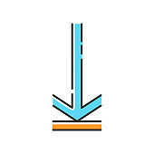Down arrow, upload blue RGB color icon. Page browsing direction. Website pointer. Downloading process, web cursor. Scrolldown interface directional button. Isolated vector illustration