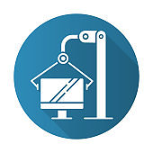 Computer industry blue flat design long shadow glyph icon. Information technology. Production process on monitor factory. Manufacturing of electronic equipment. Vector silhouette illustration