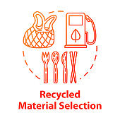Recycled material selection concept icon. Environment protection. Garbage disposal and reuse. Natural resource. Eco products idea thin line illustration. Vector isolated outline RGB color drawing