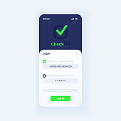 Check in app smartphone interface vector template