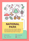 National park poster template layout. Recreational urban public place. Banner, booklet, leaflet print design with linear icons. Vector brochure page layouts for magazines, advertising flyers
