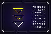 Three down arrows neon light icon. Page browsing vertical direction, download. Outer glowing effect. Sign with alphabet, numbers and symbols. Vector isolated RGB color illustration