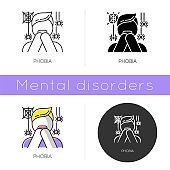 Phobia icon. Fear of spiders. Arachnophobia. Horror. Panic attack. Anxiety and distress. Psychotherapy. Mental disorder. Flat design, linear and color styles. Isolated vector illustrations