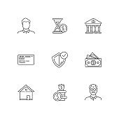 Insurance coverage linear icons set