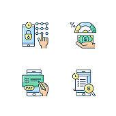 E banking service RGB color icons set