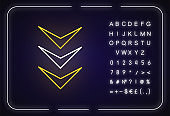 Three down arrows neon light icon. Page browsing vertical direction, download marker. Outer glowing effect. Sign with alphabet, numbers and symbols. Vector isolated RGB color illustration