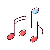 Musical RGB color icon. Traditional movie genre, artistic cinematography. Common film category with song and dance numbers. Music notes isolated vector illustration
