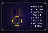 Down arrow in circle neon light icon. Page browsing direction. Website pointer. Web cursor. Outer glowing effect. Sign with alphabet, numbers and symbols. Vector isolated RGB color illustration