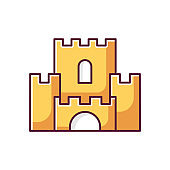 Fantasy yellow film RGB color icon. Fictional story and legends, popular cinema genre. Magical adventure, fairy tale, fable. Medieval castle isolated vector illustration
