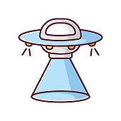 Science fiction blue RGB color icon. Sci fi movies, popular futuristic fantasy films. Cinema category, space opera. Flying saucer, UFO isolated vector illustration