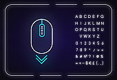 Scroll down mouse neon light icon. Internet page browsing and scrolling. PC mouse. Outer glowing effect. Sign with alphabet, numbers and symbols. Vector isolated RGB color illustration