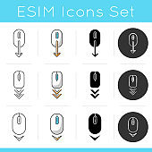 Scrolling down icons set. Computer mouse and arrowheads buttons. Moving arrows. Cursor and download indicators. Way direction. Linear, black and RGB color styles. Isolated vector illustrations