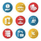 Industry types flat design long shadow glyph icons set. Information. Auto production. Pulp and paper. Steel industry. Fruit supply. Broadcasting. Water purification. Vector silhouette illustration