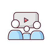 Family picture RGB color icon. Filmmaking style, cinema genre. Family friendly movies and TV series. Parents and kid watching film isolated vector illustration