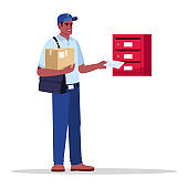 Postman delivering mail and parcel semi flat RGB color vector illustration