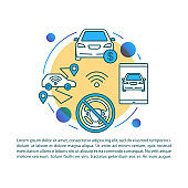 Driverless taxi article page vector template. Autonomous car sale. Brochure, magazine, booklet design element with linear icons and text boxes. Print design. Concept illustrations with text space