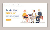 Productive interview landing page vector template. Headhunting, recruitment website interface idea with flat illustrations. Hiring staff homepage layout. HR agency web banner, webpage cartoon concept