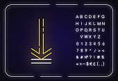 Down arrow, upload neon light icon. Page browsing direction. Website pointer. Downloading process, web cursor. Sign with alphabet, numbers and symbols. Vector isolated RGB color illustration