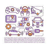 Self-driving car article page vector template. Autonomous car system. Brochure, magazine, booklet design element with linear icons and text boxes. Print design. Concept illustrations with text space