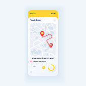 Express food delivery smartphone interface vector template