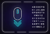 Scroll down mouse neon light icon. Internet page browsing double arrow. Web cursor. PC mouse. Outer glowing effect. Sign with alphabet, numbers and symbols. Vector isolated RGB color illustration