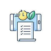 Paperless statements RGB color icon
