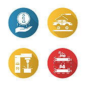 Industry types flat design long shadow glyph icons set. Automotive engineering. Information sign. Steel industry. Fruit production. Car, automobile repair. Food supply. Vector silhouette illustration