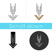 Down arrow icon. Scrolldown interface navigational button. Swipe down gesture. Way direction indicator. Downloading process, cursor. Linear black and RGB color styles. Isolated vector illustrations