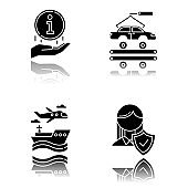 Industry types drop shadow black glyph icons set. Automotive engineering. Information sign. Life insurance. Car, automobile repair. Vehicle factory. Transport, vehicle. Isolated vector illustrations