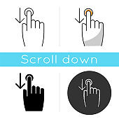 Down scrolling finger icon. Scrolldown gesture for smartphone touch screen. Hand and downward arrow button. Computer cursor. Linear black and RGB color styles. Isolated vector illustrations