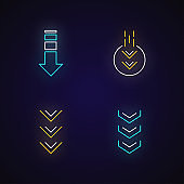 Down arrows neon light icons set. Double arrowhead in circle. Scrolldown buttons. Arrows interface navigation buttons. Signs with outer glowing effect. Vector isolated RGB color illustrations