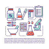 Pharmaceutical industry article page vector template. Drug retail. Brochure, magazine, booklet design element with linear icons and text boxes. Print design. Concept illustrations with text space
