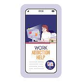 Work addiction help cartoon smartphone vector app screen. Mobile phone displays with flat character design mockup. Destructive behavior, burnout prevention application telephone interface