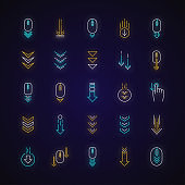 Scroll down neon light icons set. Internet page browsing and download indicators. Downward arrows. Website pointer. Signs with outer glowing effect. Vector isolated RGB color illustrations