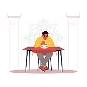 Young man enjoying indian food semi flat RGB color vector illustration. Traditional meal in India. Young asian guy eating rice with bare hands isolated cartoon character on white background