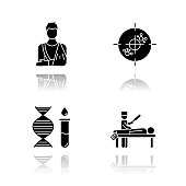 Medical procedure drop shadow black glyph icons set. Orthopedic cast. Fractured bone. Immunotherapy. Genetic test. DNA, molecules. Autopsy diagnosis. Death cause. Isolated vector illustrations