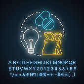 FMCG neon light concept icon. Fast moving consumer goods idea. Low cost, quickly sold products. Market industry management. Glowing sign with alphabet, numbers, symbols. Vector isolated illustration