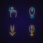 Scrolldown neon light icons set. Swipe down indicators, cursors. Arrows mobile app interface navigational buttons. Signs with outer glowing effect. Vector isolated RGB color illustrations
