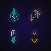 Computer mouse and arrowheads neon light icons set. Scrolling down and uploading indicators. Website page cursor. Signs with outer glowing effect. Vector isolated RGB color illustrations