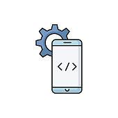 Mobile software development RGB color icon